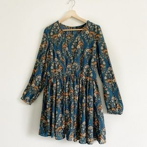 R&J Couture Teal Floral Print Swing Dress Large